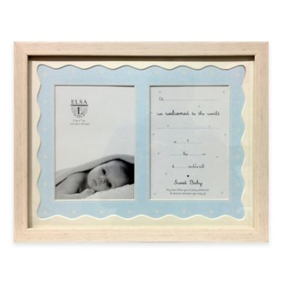 Elsa L Baby Classics 2-Photo Picture Frame and Birth Announcement in Blue