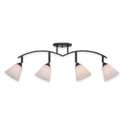 Illumina Direct 4-Light Fixed Track Light in Palladian Bronze with Glass Shade