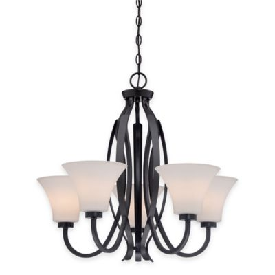 Vintage Bronze with Glass Shades Chandeliers