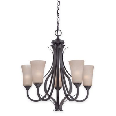 Illumina Direct 5-Light Sofia Chandelier in Architectural Bronze with Spray Glass Shades