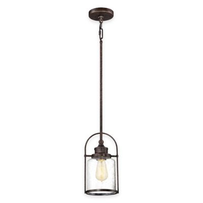 Illumina Direct Owen Rod-Hung 1-Light Mini-Pendant in Imperial Bronze with Glass Shade