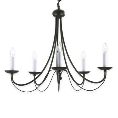 Gallery Empress Wrought Iron 5-Light Chandelier with Swag Kit