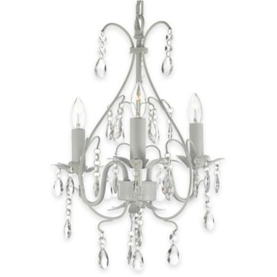 Gallery 3-Light Wrought Iron Crystal Swag Chandelier in White