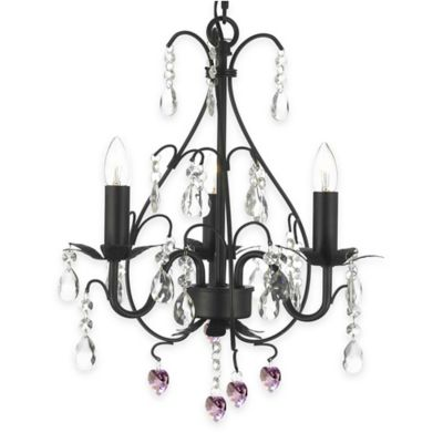 Gallery 3-Light Wrought Iron Pink Hearts Crystal Swag Chandelier in Black