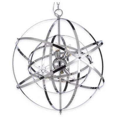 Gallery Foucault's Orb 6-Light Pendant Chandelier in Silver