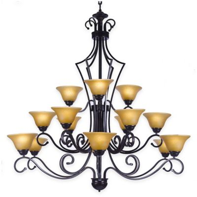 Gallery 15-Light Wrought Iron Chandelier in Black