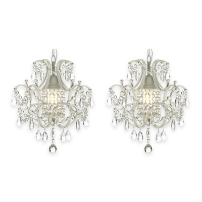 Gallery Wrought Iron 1-Light Crystal Chandelier Pendant in White (Set of 2)