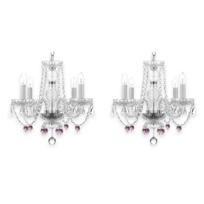 Gallery Venetian 4-Light Pink Hearts Crystal Chandelier (Set of 2)