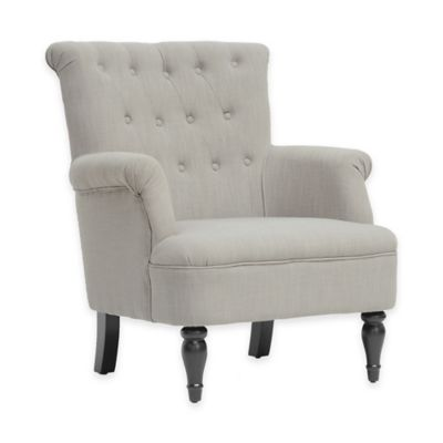 Baxton Studio Crenshaw Modern Club Chair in Light Grey Linen