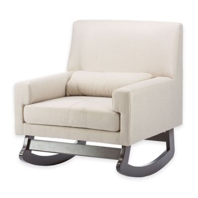 Baxton Studio Imperium Linen Rocking Chair with Pillow in Light Beige