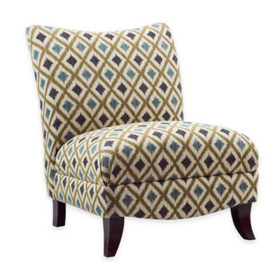 Madison Park Asher Armless Curved Back Chair in Blue/Green Multi