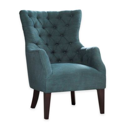Madison Park Hannah Button Tufted Wing Back Chair in Grey/Green