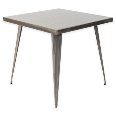 LumiSource Austin Square Dining Table in Metallic Silver