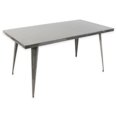 LumiSource Austin Rectangular Dining Table in Metallic Silver