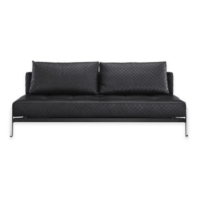 Serta® Denmark Convertible Leather Sofa in Black