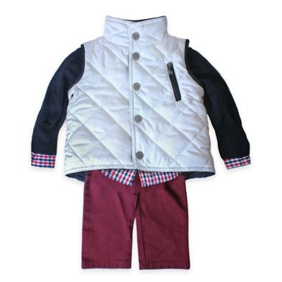 Frenchie Mini Couture Size 12M 4-Piece Vest, Sweater, Shirt, and Pant Set in White/Red
