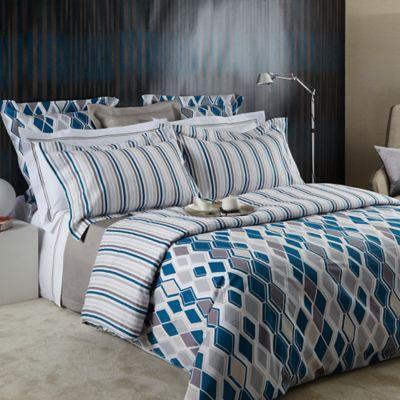 Frette At Home Ortles Queen Duvet Cover in Teal