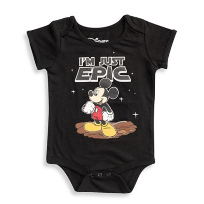"FREEZE Disney® Size 6M Mickey Mouse ""I'm Just Epic"" Short-Sleeve Bodysuit in Black"