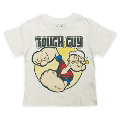 "FREEZE Size 4T Popeye ""Tough Guy"" Short-Sleeve Shirt in White"