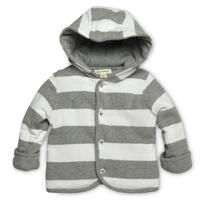 Burt's Bees Baby™ Newborn Stripe Snap-Front Reversible Hoodie in Grey/White