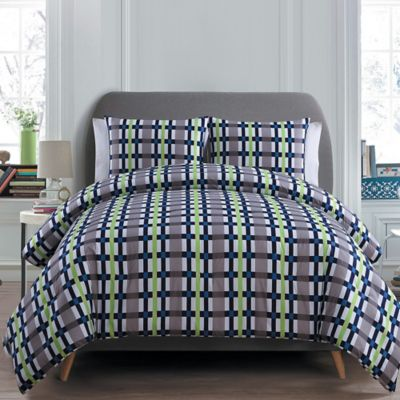 Evan 2-Piece Twin Comforter Set in Green/Grey