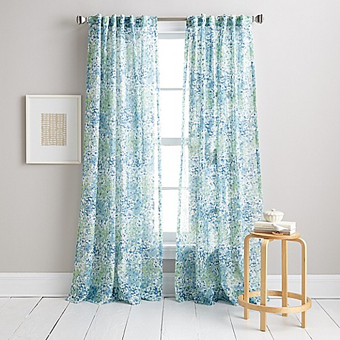 Dkny modern botanical window curtain panel in aqua bed bath amp beyond
