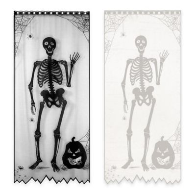 84-Inch Bones Halloween Door/Window Curtain Panel in Black