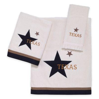 Beige Bathroom Towels with Brown Decorations