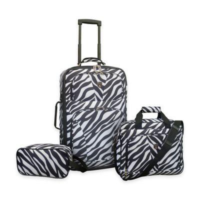 Vacations Traveler's Club 3-Piece Expandable Rolling Carry On Travel Set in Zebra Print