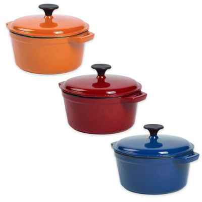 Bella 2.75 qt. Cast Iron Covered Round Casserole in Red