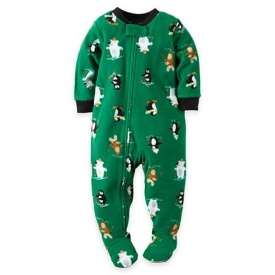 carter's® Size 24M Skiing Animals Fleece Footed Pajama in Green