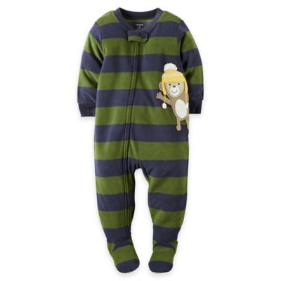carter's® Size 18M Monkey Striped Fleece Footed Pajama