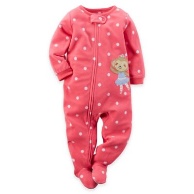 Carter's® Size 18M Polka Dot Ballerina Monkey Footed Pajama in Pink