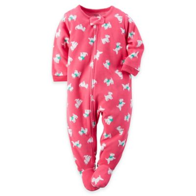 carter's® Size 24M Scotty Dog Fleece Footed Pajama in Pink