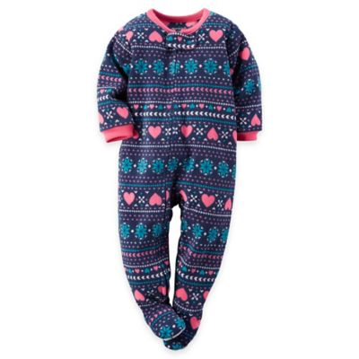carter's® Size 12M Fair Isle Fleece Footed Pajama in Navy