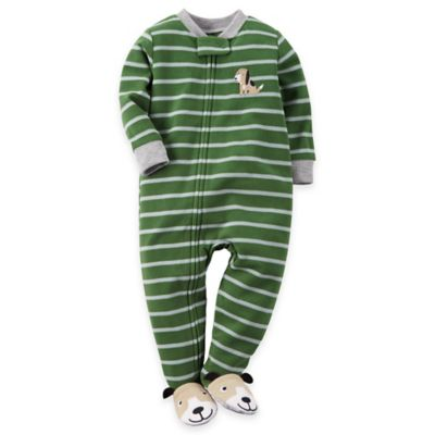 Carter's® Size 18M Striped Dog Footed Pajama in Green