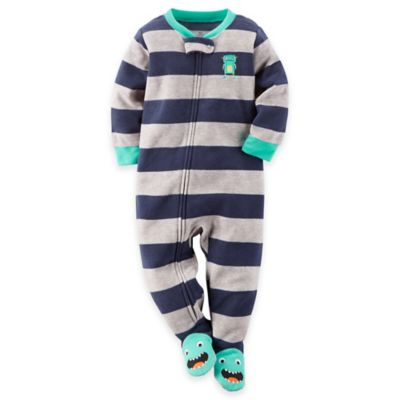 Carter's® Size 18M Striped Monster Footed Pajama in Navy