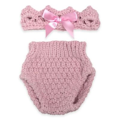 Rising Star™ 2-Piece Crochet Crown and Diaper Set in Pink