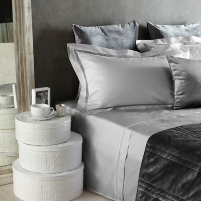 Frette At Home Tiber Lace King Pillow Sham in Grey