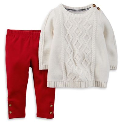 Carter's® Size 6M 2-Piece Cable-Knit Dress and Pant Set in Ivory/Red