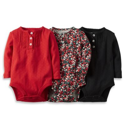 Carter's® Size 3M 3-Pack Long-Sleeve Bodysuits in Red/Black