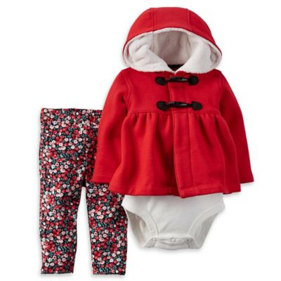 Carter's® Size 18M 3-Piece Toggle Cardigan, Bodysuit, and Legging Set in Red