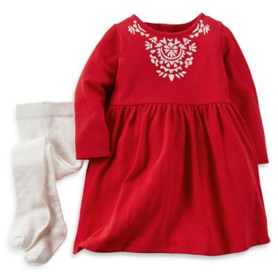 Carter's® Size 9M 2-Piece Dress and Tights Set in Red
