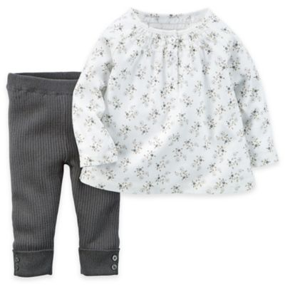 carter's® Newborn 2-Piece Smocked Long Sleeve Floral Top and Pant Set