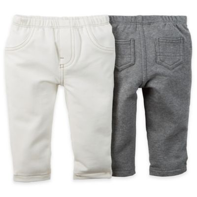 carter's® Newborn 2-Pack Stretch French Terry Pant in Ivory/Grey