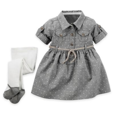 carter's® Size 12M 2-Piece Polka-Dot Flannel Shirt Dress and Tights Set in Grey
