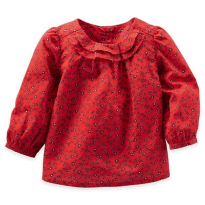 OshKosh B'gosh® Size 3M Poplin Print Long Sleeve Top in Red