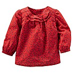 OshKosh B'gosh® Size 3M Poplin Print Long Sleeve Top in Red