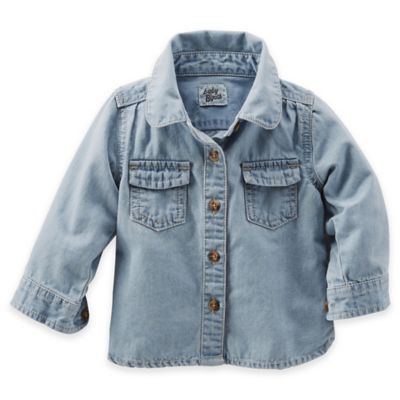 OshKosh B'Gosh® Size 3M Washed Light Denim Long Sleeve Shirt