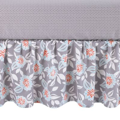 Balboa Baby® Mix & Match Grey Dahlia Crib Skirt